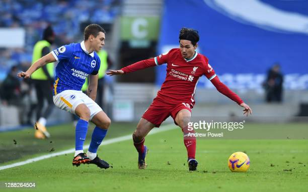 Takumi Minamino of Liverpool during the Premier League match between Brighton & Hove Albion and Liverpool at American Express Community Stadium on...