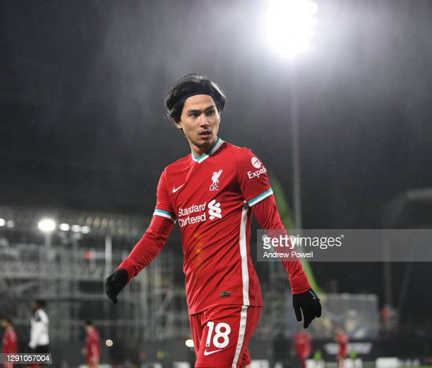 Takumi Minamino of Liverpool during the Premier League match between Fulham and Liverpool at Craven Cottage on December 13, 2020 in London, England....