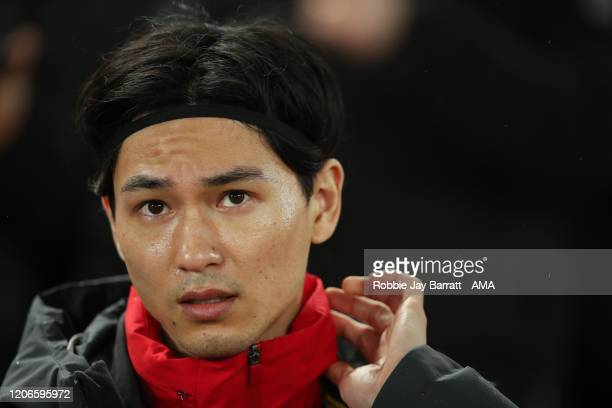 Takumi Minamino of Liverpool during the UEFA Champions League round of 16 second leg match between Liverpool FC and Atletico Madrid at Anfield on...