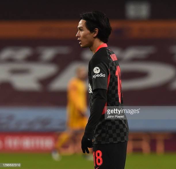 Takumi Minamino of Liverpool in action during the FA Cup Third Round match between Aston Villa and Liverpool on January 08, 2021 in Birmingham,...