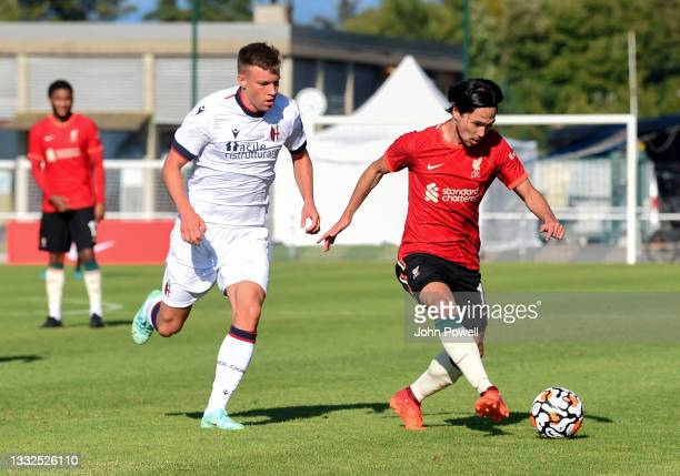 Takumi Minamino of Liverpool in action during the Pre Season match between Liverpool and Bologna on August 05, 2021 in Evian-les-Bains, France.