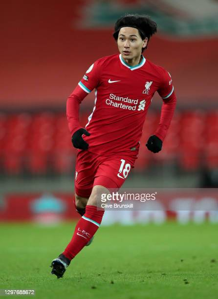 Takumi Minamino of Liverpool in action during the Premier League match between Liverpool and Burnley at Anfield on January 21, 2021 in Liverpool,...