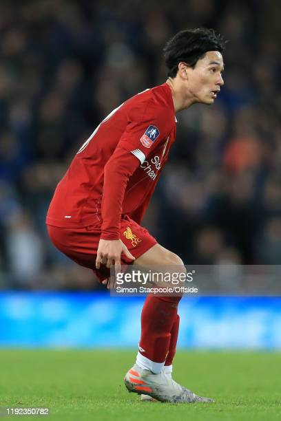 Takumi Minamino of Liverpool looks on during the FA Cup Third Round match between Liverpool and Everton at Anfield on January 5 2020 in Liverpool...