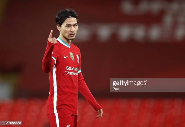 Takumi Minamino of Liverpool reacts during the UEFA Champions League Group D stage match between Liverpool FC and Atalanta BC at Anfield on November...