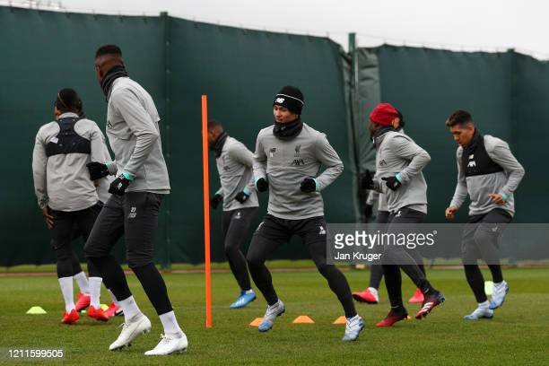 Takumi Minamino of Liverpool trains with his team during a Liverpool FC Training session at Anfield on March 10 2020 in Liverpool United Kingdom...