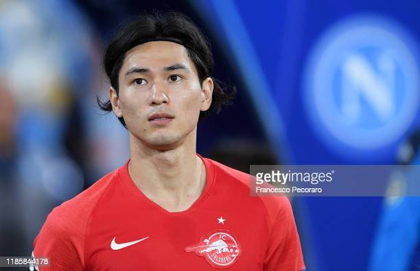 Takumi Minamino of RB salzburg during the UEFA Champions League group E match between SSC Napoli and RB Salzburg at Stadio San Paolo on November 05...