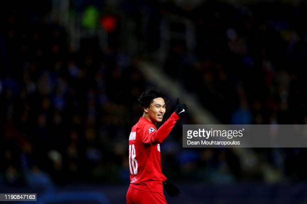 Takumi Minamino of RB Salzburg in action during the UEFA Champions League group E match between KRC Genk and RB Salzburg at Luminus Arena on November...