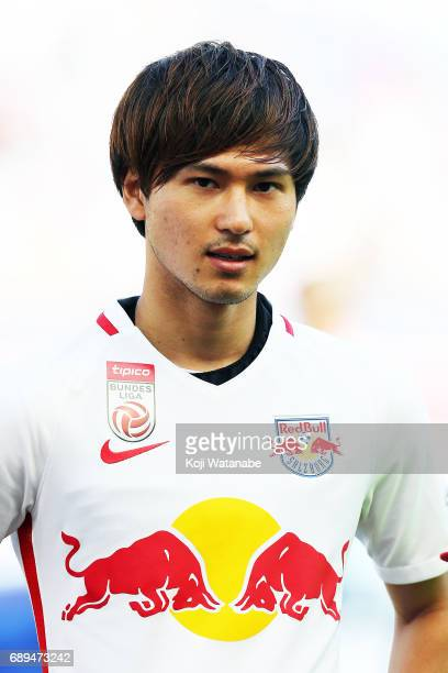 Takumi Minamino of Red Bull Salzburg in action during the Austrian Bundesliga match between Red Bull Salzburg and Cashpoint SCR Altach at Red Bull...