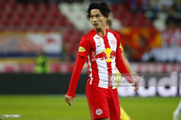 Takumi Minamino of Salzburg looks on during the tipico Bundesliga match between FC Red Bull Salzburg and Spusu SKN St. Poelten at Red Bull Arena on...