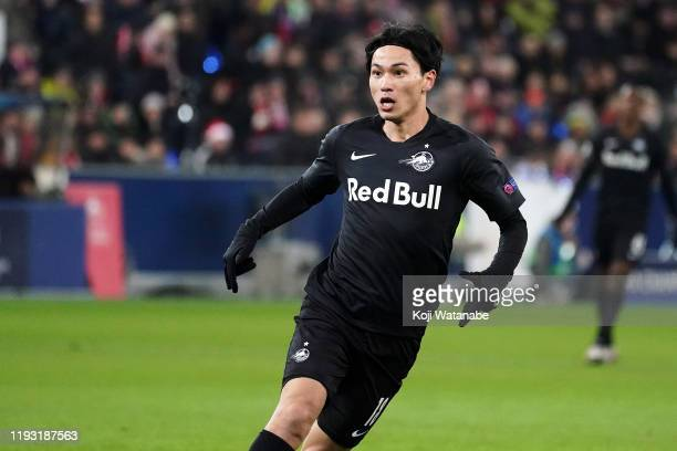 Takumi Minamino of Salzburg looks on during the UEFA Champions League group E match between RB Salzburg and Liverpool FC at Red Bull Arena on...