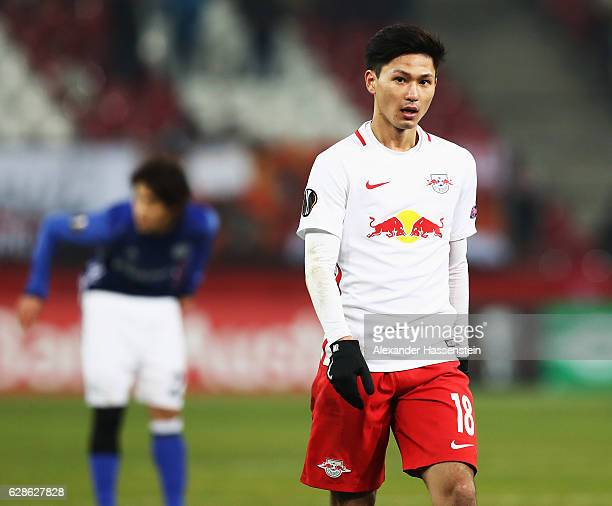 Takumi Minamino of Salzburg looks on during the UEFA Europa League match between FC Salzburg and FC Schalke 04 at Red Bull Arena on December 8 2016...