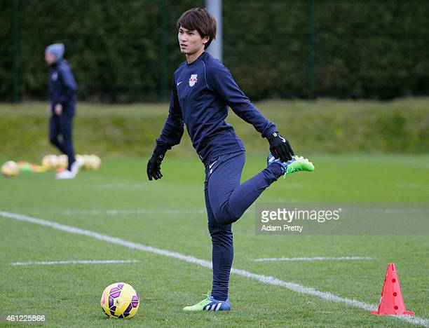Takumi Minamino of the Red Bulls in action during training at the FC Red Bull Salzburg training ground on January 9 2015 in Salzburg Austria