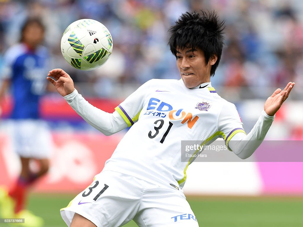 Takumi Miyayoshi of Sanfrecce Hiroshima in action during the J.League match between Yokohama F.Marinos and Sanfrecce Hiroshima at the Nissan Stadium on April 24, 2016 in Yokohama, Kanagawa, Japan.