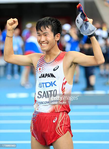 Takumi Saito of Japan celebrates completing in the Men's 20km Race Walk final during Day Two of the 14th IAAF World Athletics Championships Moscow...