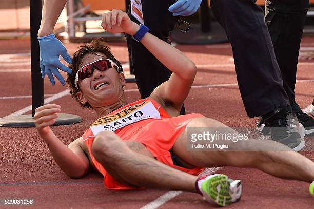 Takumi Saito reacts after arriving the finish line of the man's 20Km Race Walk at IAAF World Race Walking Team Championship Rome 2016 on May 7 2016...