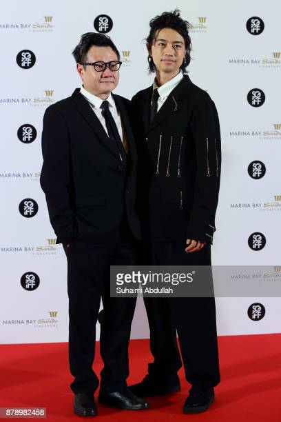 Takumi Saitoh and Eric Khoo attend The Singapore International Film Festival Benefit Dinner Red Carpet at Sands Expo and Convention Centre on...
