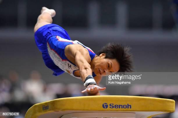 Takumi Sato competes in the Horse Vault during Japan National Gymnastics Apparatus Championships at the Takasaki Arena on June 25 2017 in Takasaki...