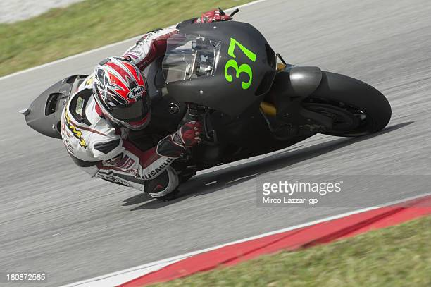 Takumi Takahashi of Japan and HRC test rider rounds the bend during the MotoGP Tests in Sepang Day Five at Sepang Circuit on February 7 2013 in Kuala...