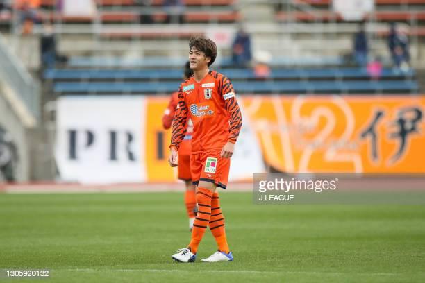 Takumu KAWAMURA of Ehime FC looks on during the J.League Meiji Yasuda J2 match between Ehime FC and JEF United Chiba at Ningineer Stadium on March...