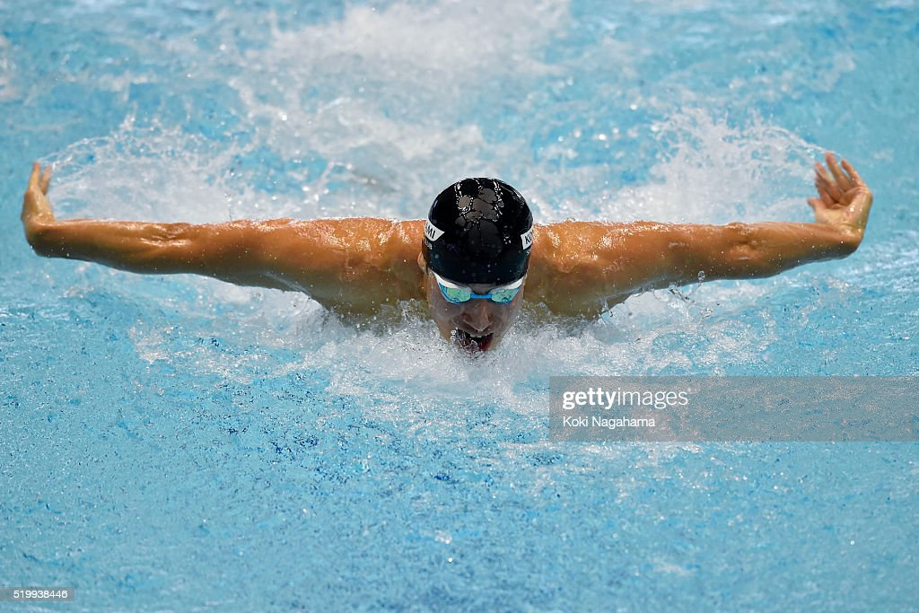 Takuro Fujii competes in the Men's 100m Butterfly qualification during the Japan Swim 2016 at Tokyo Tatsumi International Swimming Pool on April 9, 2016 in Tokyo, Japan.