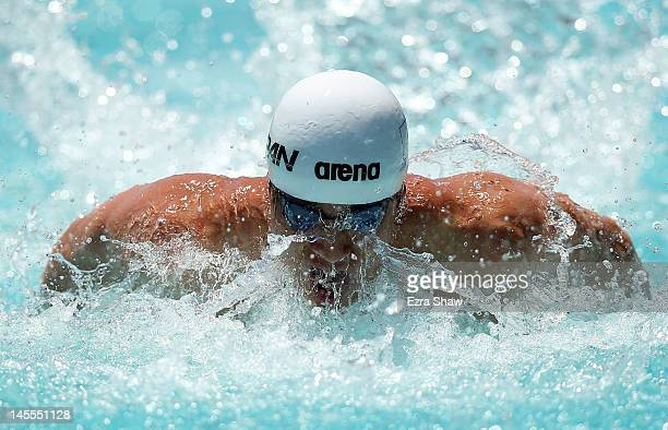 Takuro Fujii of Japan competes in the 100 meter men's butterfly during day 2 of the Santa Clara International Grand Prix at George F Haines...