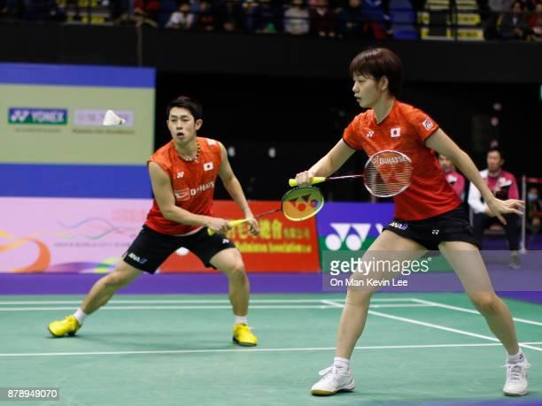 Takuro Hoki and Sayaka Hirota of Japan in action against Mathias Christiansen and Christinna Pedersen of Demark during Mixed's Double of SemiFinals...