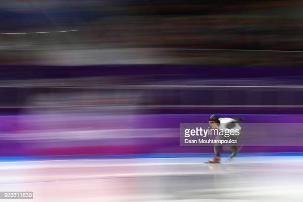 Takuro Oda of Japan competes during the Men's 1000m on day 14 of the PyeongChang 2018 Winter Olympic Games at Gangneung Oval on February 23 2018 in...