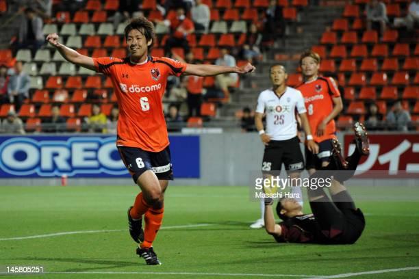 Takuya Aoki of Omiya Ardija celebrates the first goal during the J.League Yamazaki Nabisco Cup Group B match between Omiya Ardija and Vissel Kobe at...