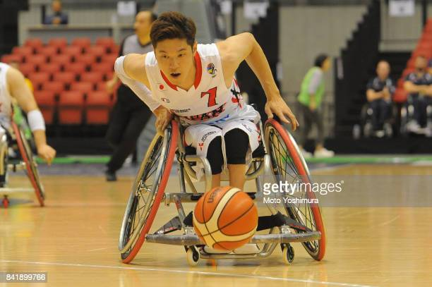 Takuya Furusawa of Japan in action during the Wheelchair Basketball World Challenge Cup third place match between Turkey and Japan at the Tokyo...