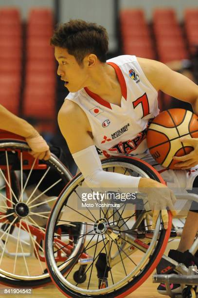 Takuya Furusawa of Japan in action during the Wheelchair Basketball World Challenge Cup match between Japan and Turkey at the Tokyo Metropolitan...