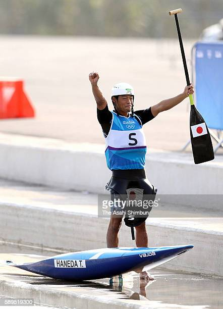 Takuya Haneda of Japan celebrates winning the bronze medal after the Canoe Single Men's Final on Day 4 of the Rio 2016 Olympic Games at the...