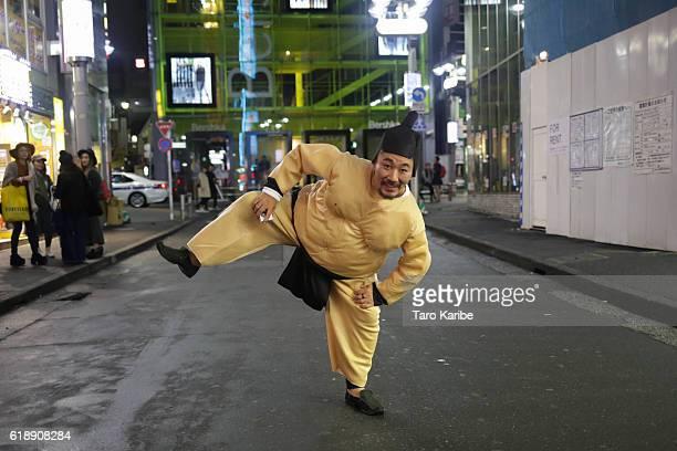 Takuya Harada 40 years old dresses up as a sumo wrestler for Halloween on October 29 2016 in Shibuya Tokyo Japan