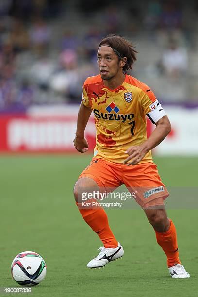 Takuya Honda of Shimizu SPulse in action during the JLeague match between Shimizu SPulse and Sanfrecce Hiroshima at IAI Stadium Nihondaira on...
