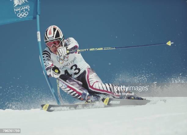 Takuya Ishioka of Japan skiing in the Men's Giant Slalom competition on 19 February 1998 during the XVIII Olympic Winter Games at Shiga Kogen Nagano...