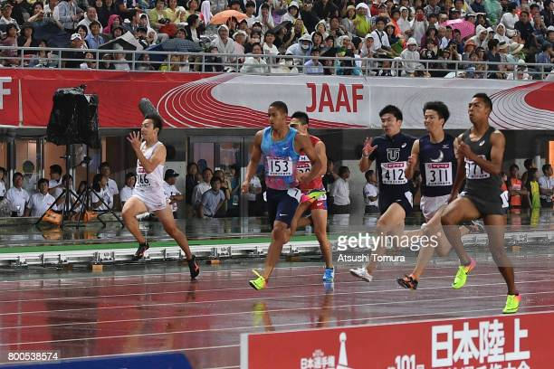 Takuya Kawakami, Takumi Kuki, Aska Cambridge, Yoshihide Kiryu, Syuhei Tada and Abdul Hakim Sani Brown of Japan compete in the Men 100m final during...