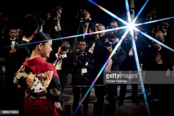 Takuya Kimura and Hana Sugisaki attend the 'Blade Of The Immortal ' premiere during the 70th annual Cannes Film Festival at on May 18 2017 in Cannes...