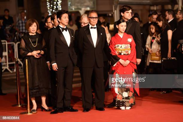 Takuya Kimura director Takashi Miike and Hana Sugisaki attend the Blade Of The Immortal premiere during the 70th annual Cannes Film Festival at...