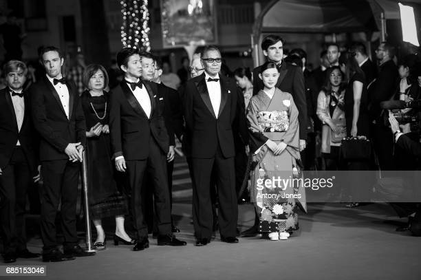 Takuya Kimura director Takashi Miike and Hana Sugisaki attend the 'Blade Of The Immortal ' premiere during the 70th annual Cannes Film Festival at on...