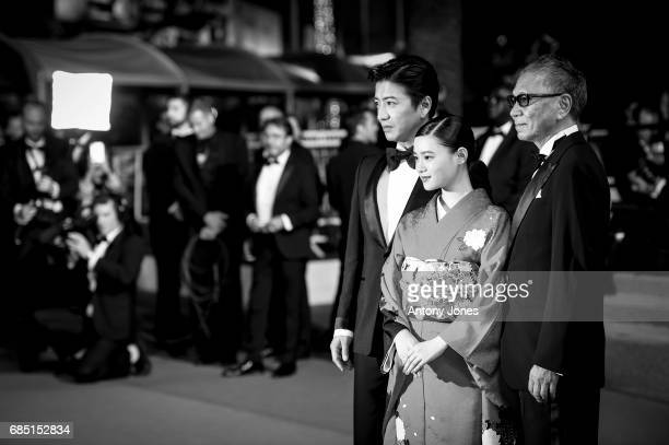 Takuya Kimura Hana Sugisaki and director Takashi Miike attend the 'Blade Of The Immortal ' premiere during the 70th annual Cannes Film Festival at on...