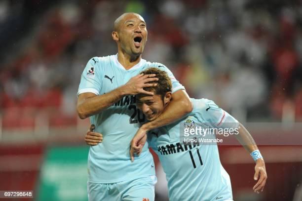 Takuya Matsuura of Jubilo Iwata celebrates scoring his team`s fourth goal during the JLeague J1 match between Urawa Red Diamonds and Jubilo Iwata at...