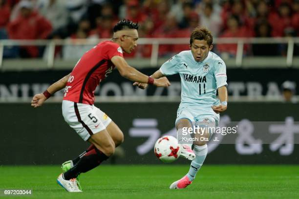Takuya Matsuura of Jubilo Iwata scores his side's fourth goal during the J.League J1 match between Urawa Red Diamonds and Jubilo Iwata at Saitama...