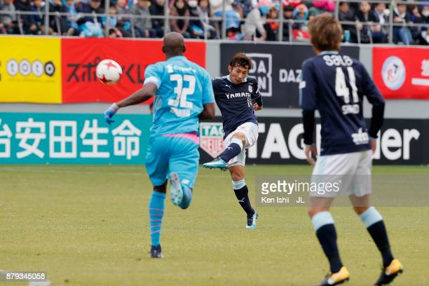 Takuya Matsuura of Jubilo Iwata shoots at goal during the JLeague J1 match between Sagan Tosu and Jubilo Iwata at Best Amenity Stadium on November 26...