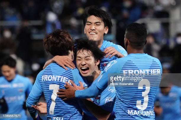 Takuya Matsuura of Yokohama FC celebrates scoring his team's first goal during the J.League Meiji Yasuda J1 match between Yokohama FC and Sagan Tosu...