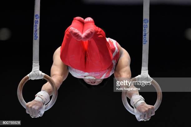 Takuya Nagano competes in the rings during Japan National Gymnastics Apparatus Championships at the Takasaki Arena on June 25 2017 in Takasaki Japan