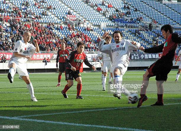 Takuya Nozawa of Kashima Antlers shoots at goal during the 85th Emperor's Cup fifth round match between Kashima Antlers and Oita Trinita at the...