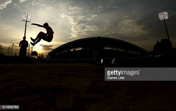 Takuya Shiramasa of Japan jumps in the Men's Long Jump T47 final during the IPC Athletics Asia-Oceania Championships at Dubai Police Stadium on March...