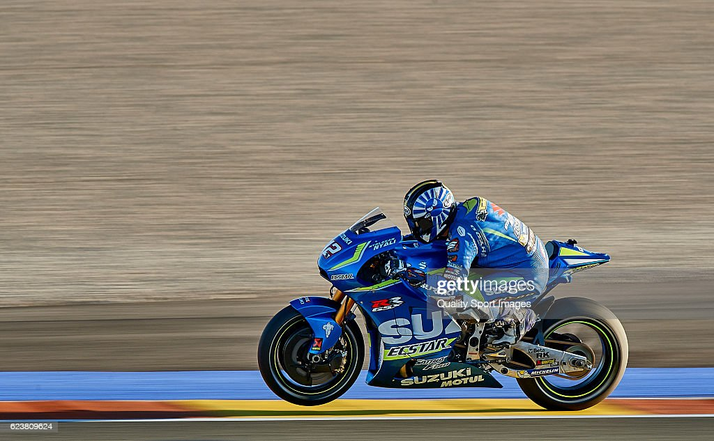Takuya Tsuda of Japan and Suzuki Test Team heads down a straight during the MotoGP Test in Valencia at Ricardo Tormo Circuit on November 16, 2016 in Valencia, Spain.