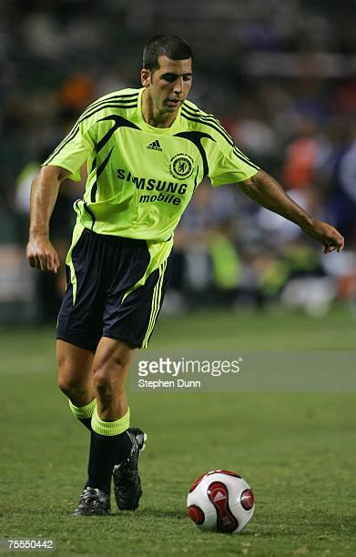 Tal Ben Haim of Chelsea FC plays the ball against the Suwon Samsung Bluewings during the World Series of Football match at the Home Depot Center on...