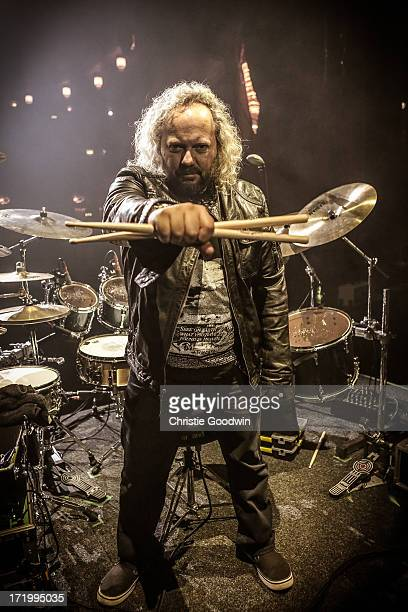 Tal Bergman poses with his drum before the concert of Joe Bonamassa at the Hammersmith Apollo on March 28 2013 in London England