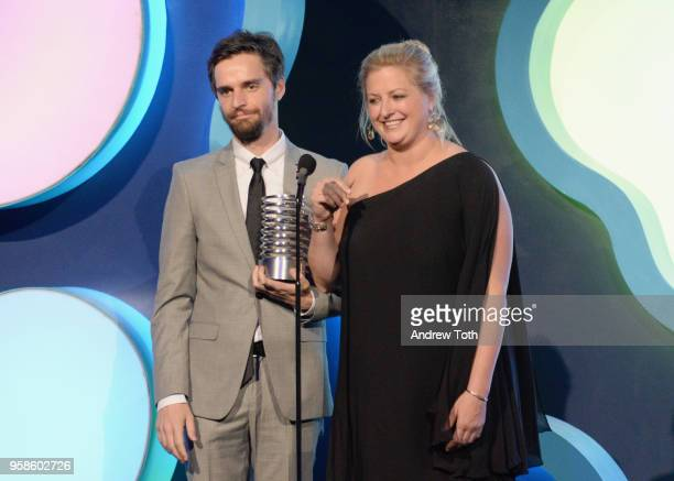 Tal Wagman and Annie Johnston accept award onstage at The 22nd Annual Webby Awards at Cipriani Wall Street on May 14 2018 in New York City